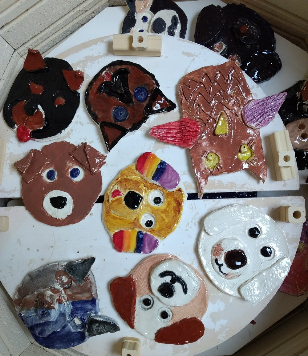 Ceramic slab dogs