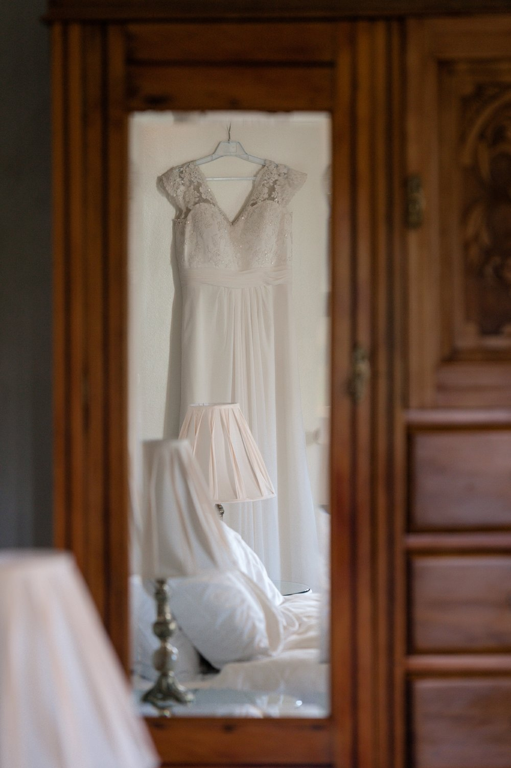 Reflection of a wedding dress - Calvin Estate - Hunter Valley Wedding