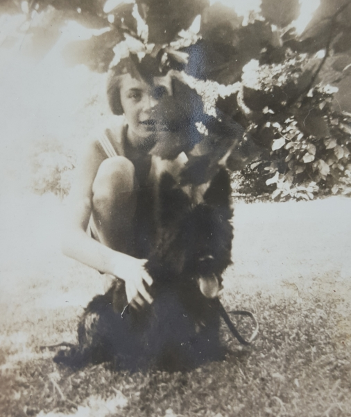 Abigail's grandmother, Ella Mae, with her Scottie, Jacques.