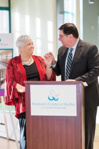 Photo Courtesy of Loren DeMarco    Shirl Regan, President and CEO of the Women's Center & Shelter with Pittsburgh Mayor William Peduto