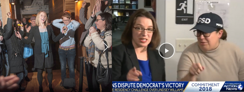 L., election night March 2018 with Erika Strassburger, Post-Gazette photo    R, election night November 2018 with Lindsey Williams, screen grab from WTAE