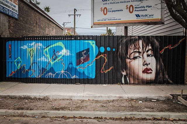 Collaborative Mural by @joelmerinoart and @pconpe at Back of the Yards ....... #streetart #urbanart #brownwallproject @brownwallproject @gloeone #backoftheyards #backoftheyardschicago #triquis #triqui #chicago #joel #joelmerino #joelmerinoart #streetart #mexicostreetart #spraypaint #spraypaintart #art #arte #artemexicano #mexicanart #contemporaryart #contemporarypainting #selena #selenaquintanilla #bidibidibombom