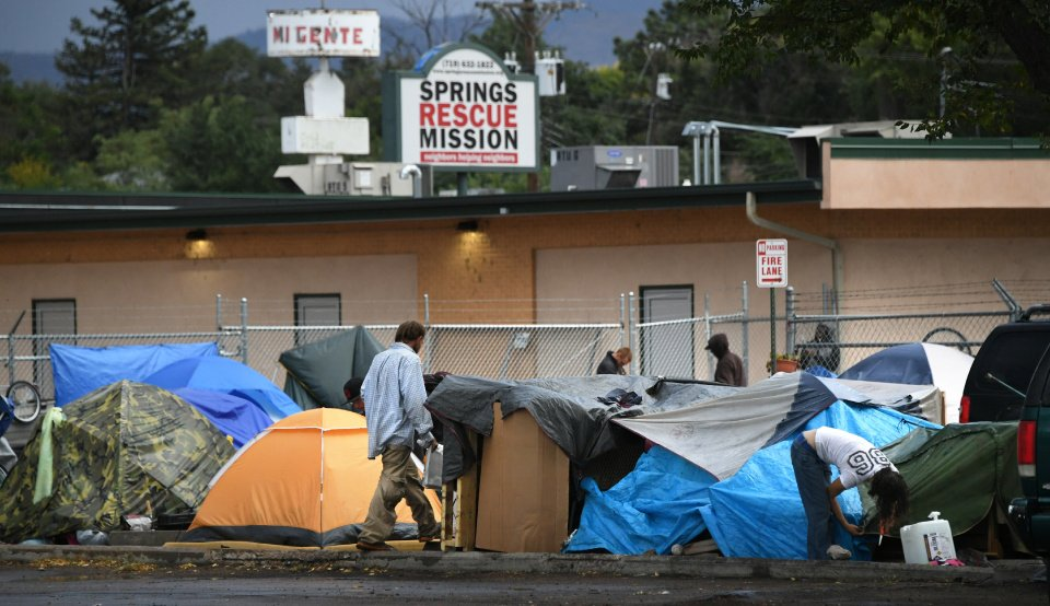 Homeless campers are now occupying 45 tents on property owned by the Springs Rescue Mission. Meanwhile, work on a new homeless shelter is also underway on the Springs Rescue Mission campus. Photo by Mark Reis, The Gazette