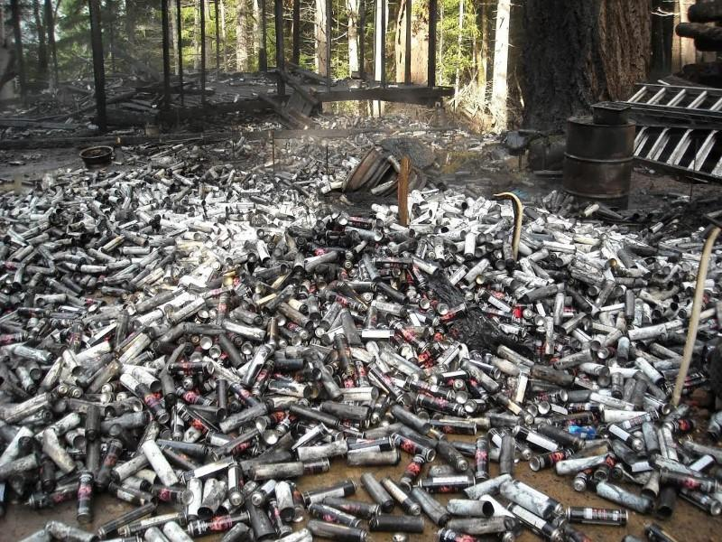 Thousands of used butane cans used to process concentrated marijuana dumped in the forest in Humboldt County, California are pictured in this undated handout photo obtained by Reuters July 25, 2017. California Department of Fish and Wildlife/Handout via REUTERS