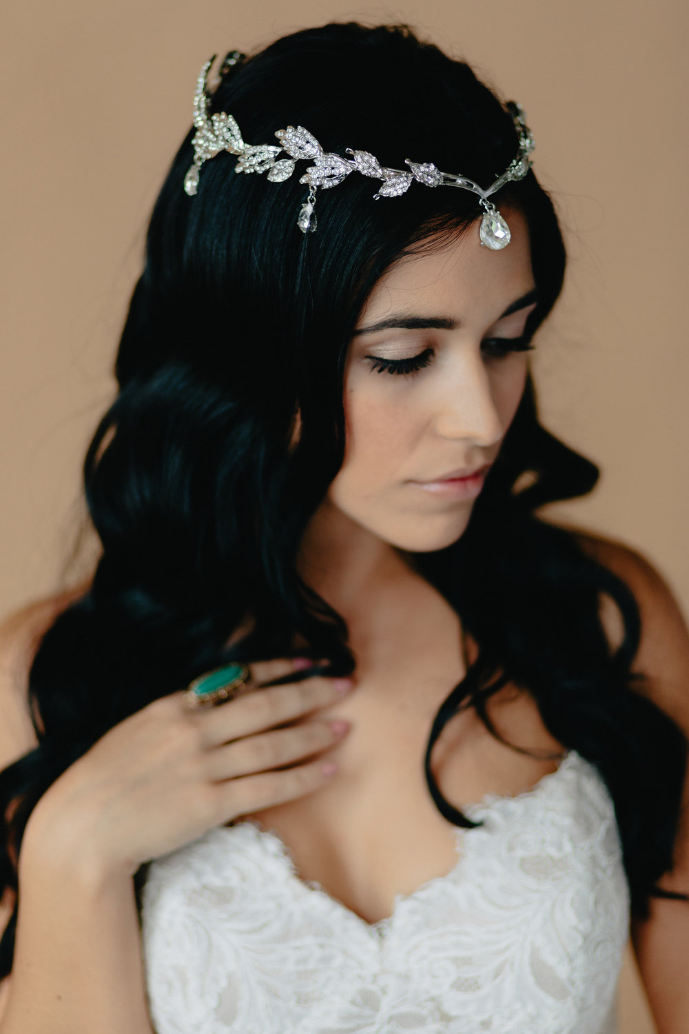 Headpiece: Hair Comes the Bride | Earring: Liz Law | Ring: Contemporary Find | Dress: Bel Fiore Bridal, Essence of Australia | Hair & Makeup: Corianne Elizabeth Beauty | Photography: Michelle Scott Photography