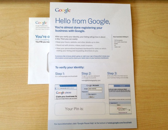 Google local business page card