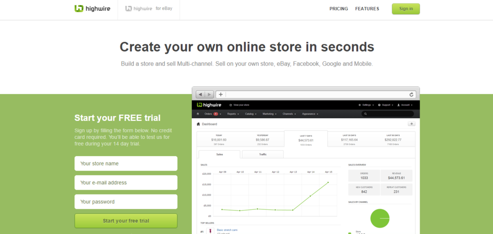 highwire - create an online store