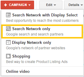google adwords campaign type