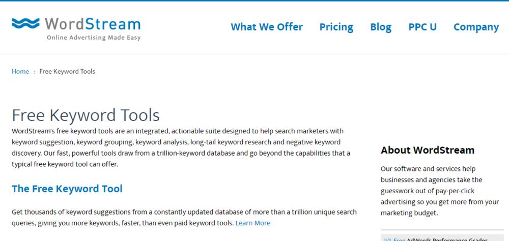 wordstream software tool