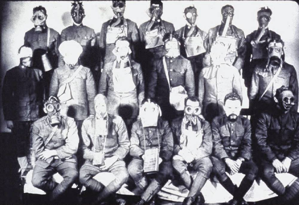 Men of the American Expeditionary Force model the different Allied masks of World War I. Source: Edgewood Chemical and Biological Center Library.