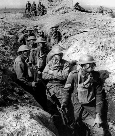 British Troops wearing the British Small Box Respirator (SBR). Image: Public Domain.