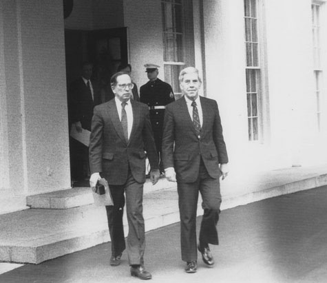 Senator's Sam Nunn and Dick Lugar leave the White House in 1991 after briefing President George H.W. Bush on their legislation. Source: Wikipedia Commons.