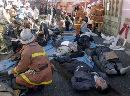 Figure 1  - Casualties outside a subway station during the attack