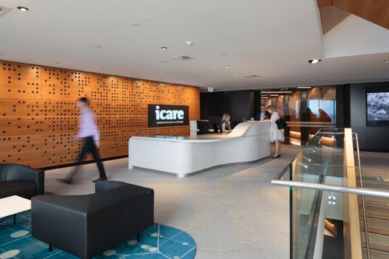 curved corian icare reception desk