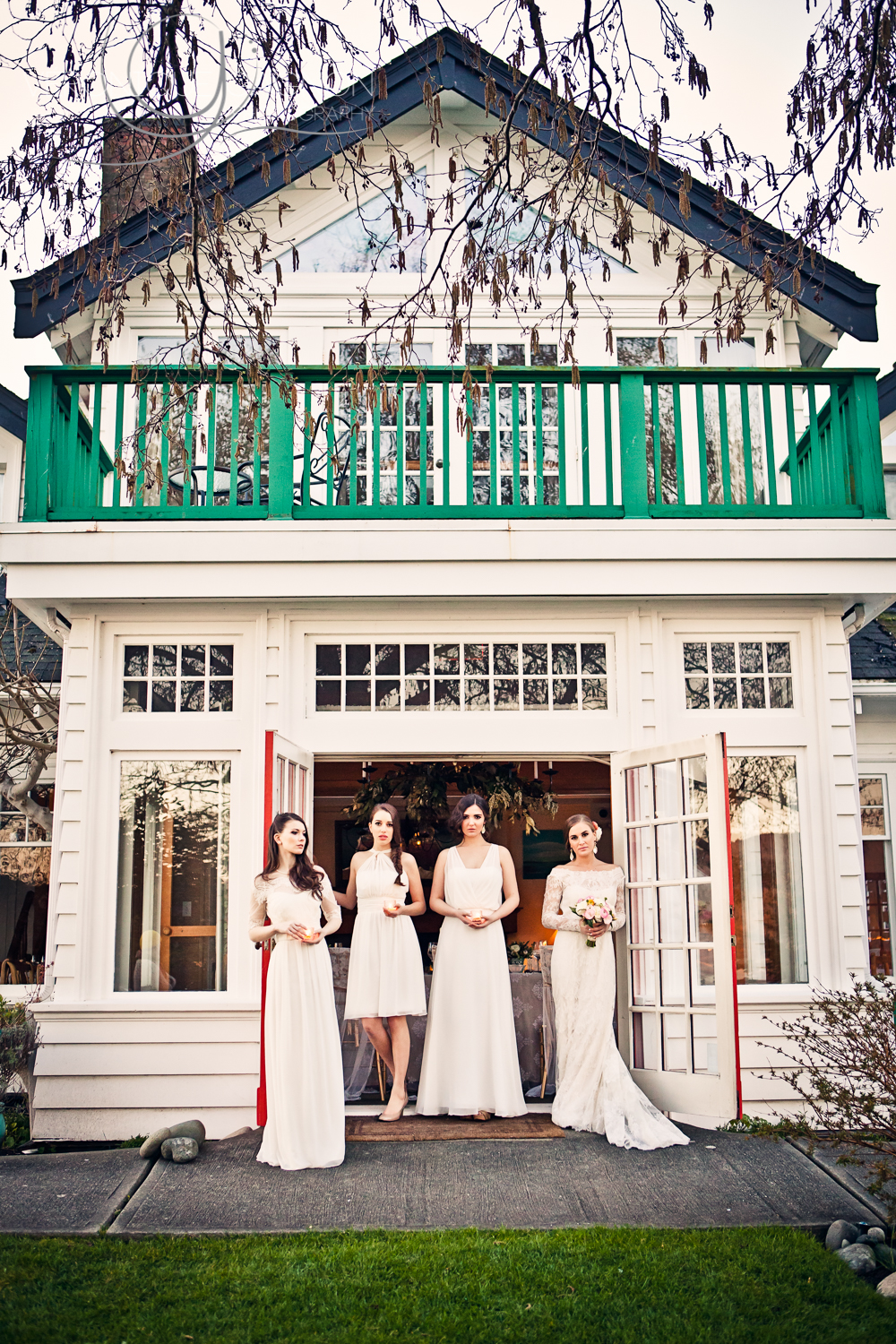 Bridal party all in white