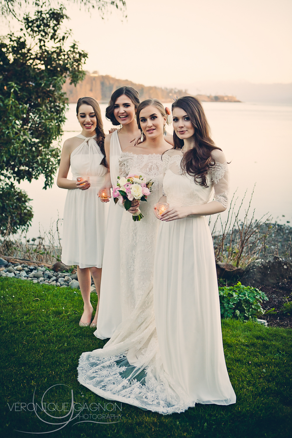 West Coast wedding and bridesmaids