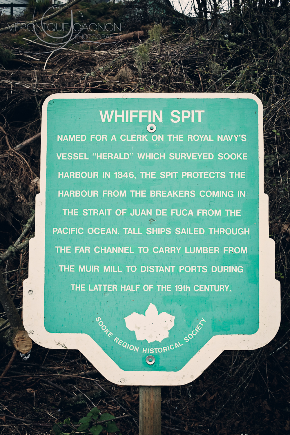 "Whiffin Spit: Named for a clerk on the royal navy's vessel ""Herald"" which surveyed Sooke Harbour in 1846, the spit protects the harbour from the breakers coming in the Straight of Juan de Fuca from the Pacific Ocean. Tall ships sailed through the far channel to carry lumber from the muir to distant ports during the latter half of the 19th century."