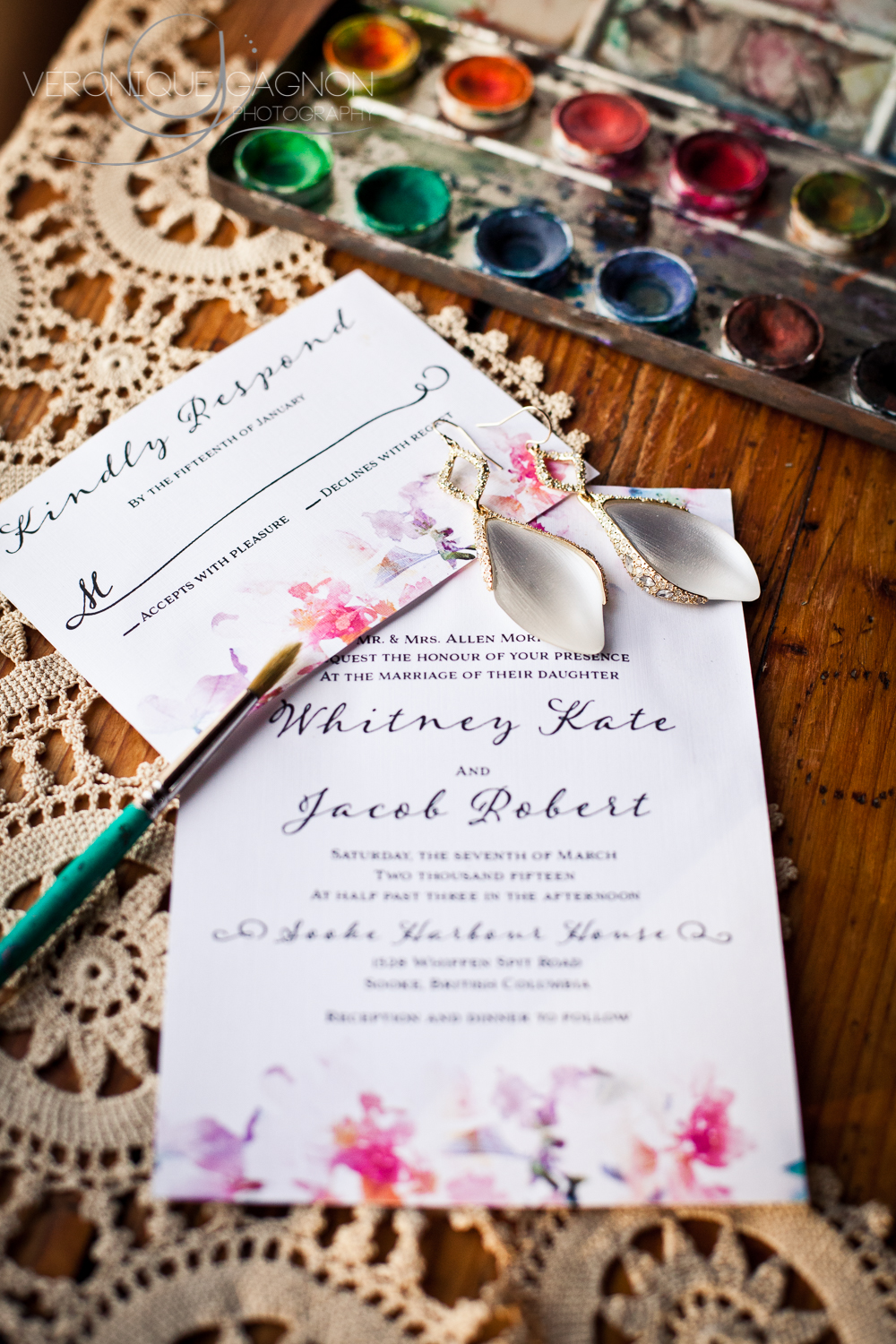 Watercolour wedding invitations and Leah Alexandra earrings