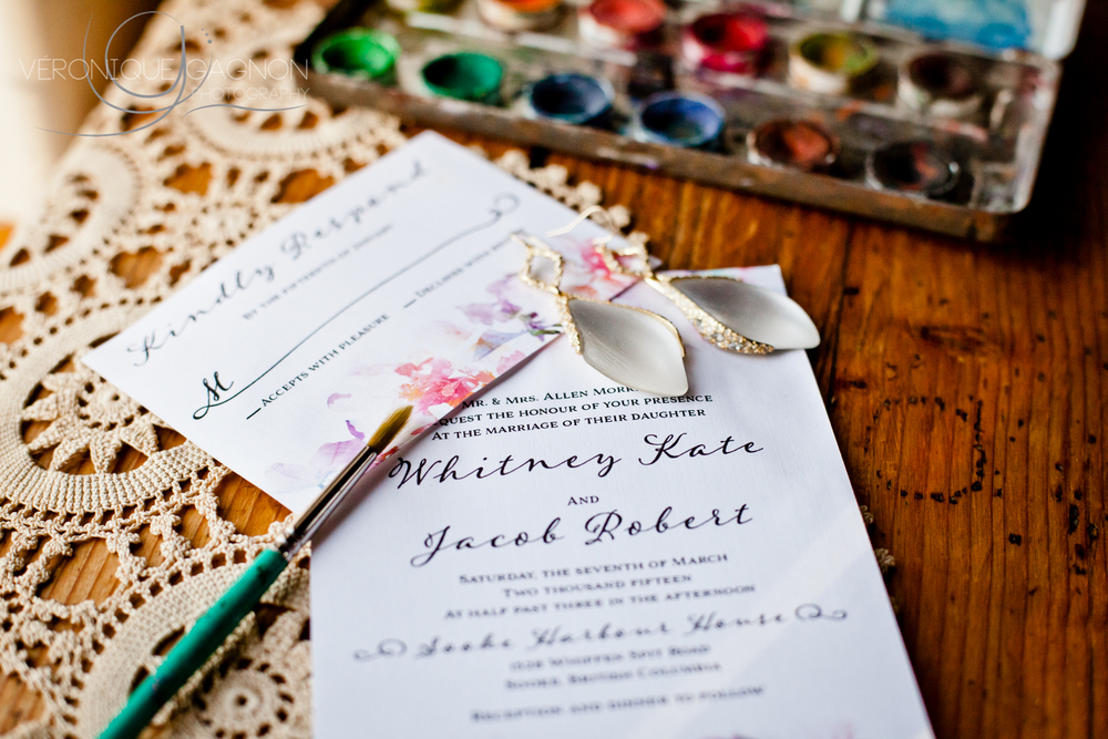 Watercolour wedding invitations and Leah Alexandra earrings all in style for the perfect wedding at the Sooke Harbour House