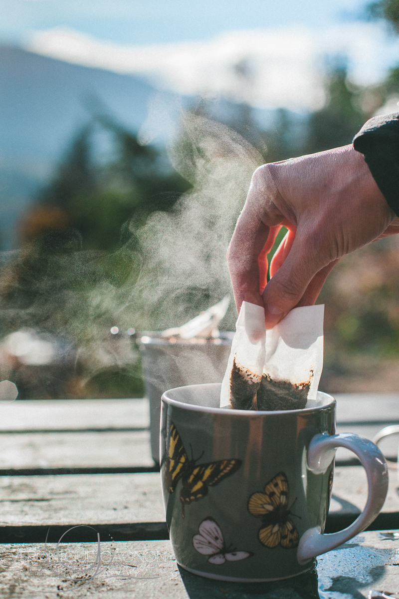 Coffee camping style. Still better than no coffee.