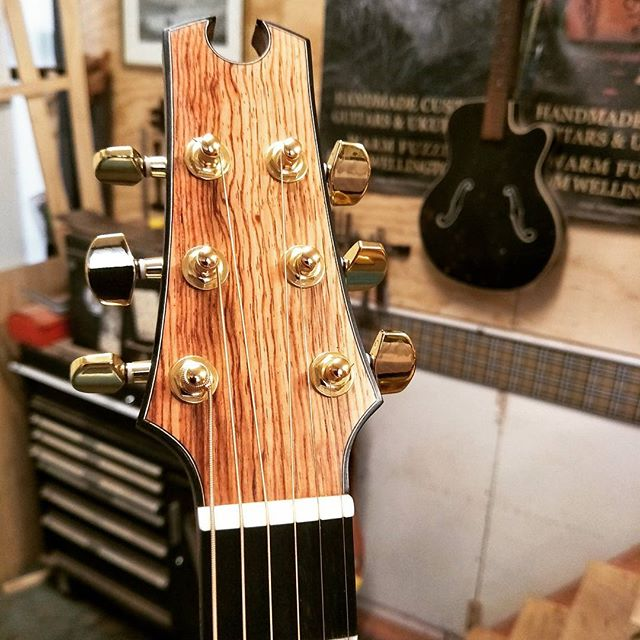 Acoustic headstock with a decidedly Metal bent.. Zander created this beauty on our #guitarmakingcourse  #makeyourown #acousticguitarwellington #customguitarnewzealand