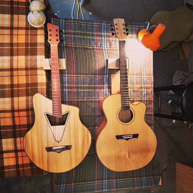These two beauties just out the door after another successful #guitarmakingcourse. Paddy and Seb crafted there own visions over 3 weeks.  #makeyourown #customacoustic #customguitarnewzealand #acousticguitarwellington #steelstringacoustic #jumbosteelstring