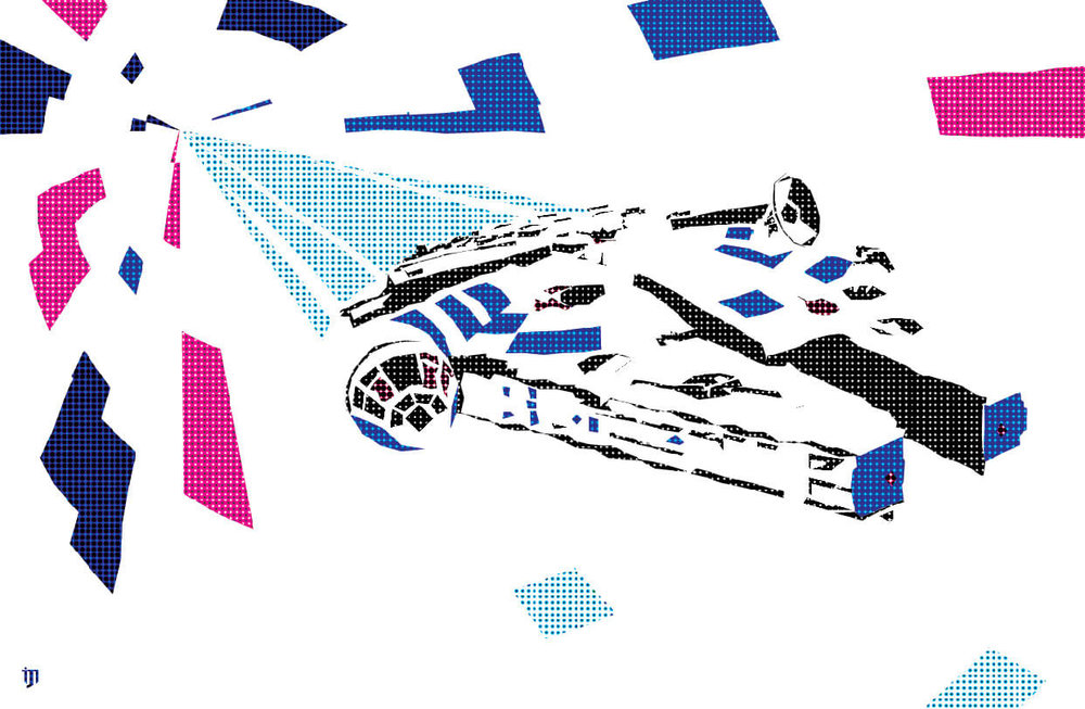 Millennium Falcon Star Wars graphic design fan art