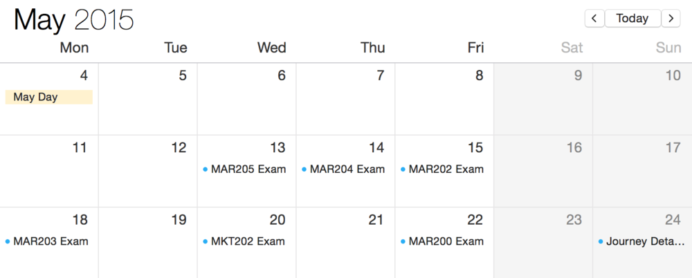 My second year exam  schedule
