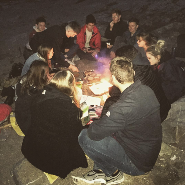 Night time campfire at Whitsands