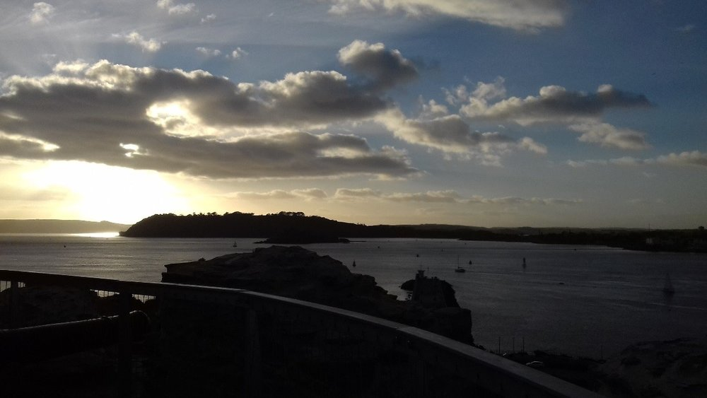 A sunset view over Plymouth Sound from the top of Plymouth's Mount Batten Tower. just a short ferry ride across the water.