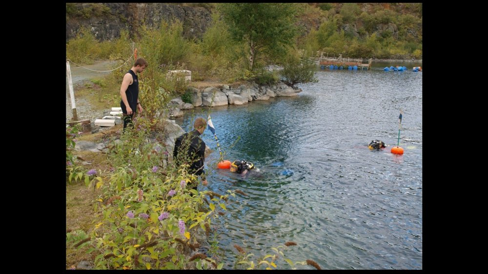 'Completing a dive at New England Quarry'
