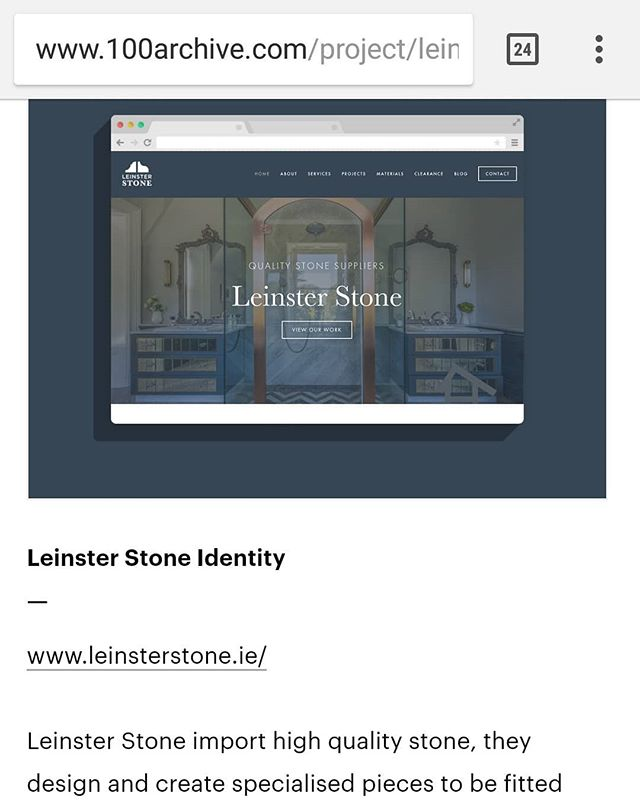 Delighted to have the identity and website I designed for @leinsterstone added to the @100archive  #irishdesign #graphicdesign  #100archive #doyleydesigns #identity