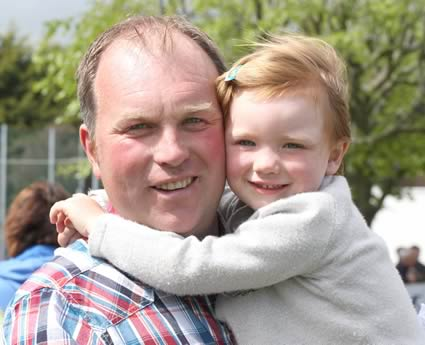 Three-year-old Hanna Wilson, Newry, with dad, Keith