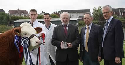 The Female of the Year was Clonguish Bambi shown by Paul and Shane McDonald, Tempo. Pictured at the presentation are Trevor Armstrong and John Henning, Northern Bank, sponsor; and Pat Kelly, club chairman.