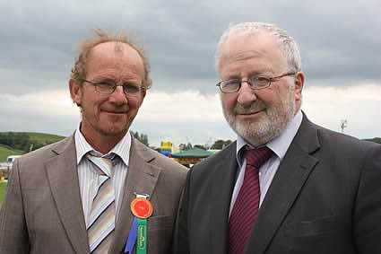 Enniskillen Show judge, Keith Vickery, Roscarbery, County Cork, with sponsor, Trevor Johnston, Northern Bank.