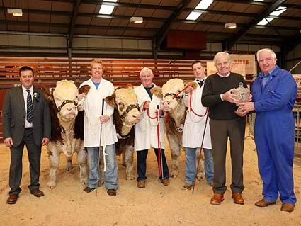 Kilbride Farm Perpetual Trophy fot the Best Three Bulls bred by Exhibitor won by Cecil McIlwaine and presented by Billy Robson OBE - also pictures Robin Boyd Judge