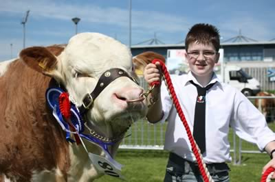 Jamie Boyd, Portglenone, with Slievenagh Wyatt, the Male and Reserve Champion at Ballymena Show.