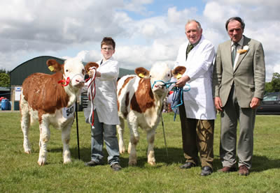 The best pair of Simmentals at Ballymoney Show were Edenbann Walnut and Edenbann Windermere, owned by Nevin Smith, Garvagh, who was assisted by Jamie Boyd, Portglenone. Included is Kenneth Stubbs, Irvinestown, judge.