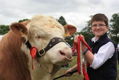 Jamie Boyd, Portglenone, with his father's male champion Simmental bull, Slievenagh Wyatt, at Clogher Show.