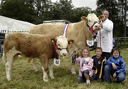Joe Wilson and grandchildren Amy, Lee and Benjamin with their Supreme Champion Ballinalare Farm Money Penny and her first prize calf Ballinalare Farm Tsar.