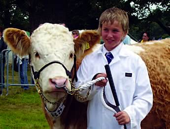 William Abram with his heifer Wagtail winning at the Aylsham Show