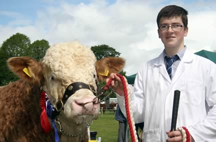 First prize Simmental young handler Jamie Boyd, Portglenone.