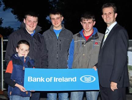 William Thompson, Bank of Ireland, congratulates the Under 21 stockjudging winners from left, Joel Nelson, Rosslea; Craig Cowan, Fivemiletown; Kyle Hayes, Upper Ballinderry; and James Carson, Cookstown. Missing from picture are Zara Stubbs, Irvinestown, and Andrew Clarke, Killyleagh.