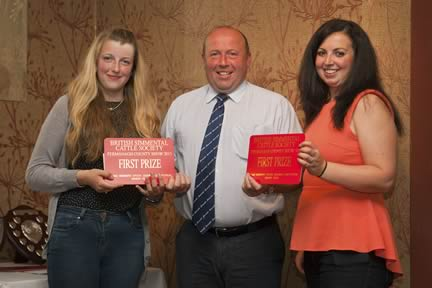 Scotland's Laura Green and Varie Logie were the winners of the under 30yrs team award. They received their prize from society president Iain Green.