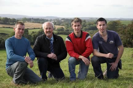 NI Simmental Cattle Breeders' Club vice-chairman Richard Rodgers, and chairman Nigel Glasgow, with Downpatrick suckler herd owners William and John Edgar