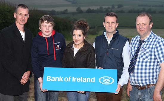 Under 21yrs stockjudging team members Jonathan Henderson, Tobermore, and Alice Stubbs, Irvinestown, were congratulated by team sponsor William Thompson, Bank of Ireland; club chairman Richard Rodgers, and vice-chairman Matthew Cunning. Picture: Steven McAuley/Kevin McAuley Photography Multimedia