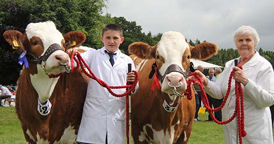 Armagh Show qualifiers for the Ivomec Super Simmental Pair of the Year Competition were Woodford Paula and Woodford Paula 2nd owned by Mrs Thelma Gorman, Armagh. She was assisted by Jason Whitcroft. Picture: Julie Hazelton