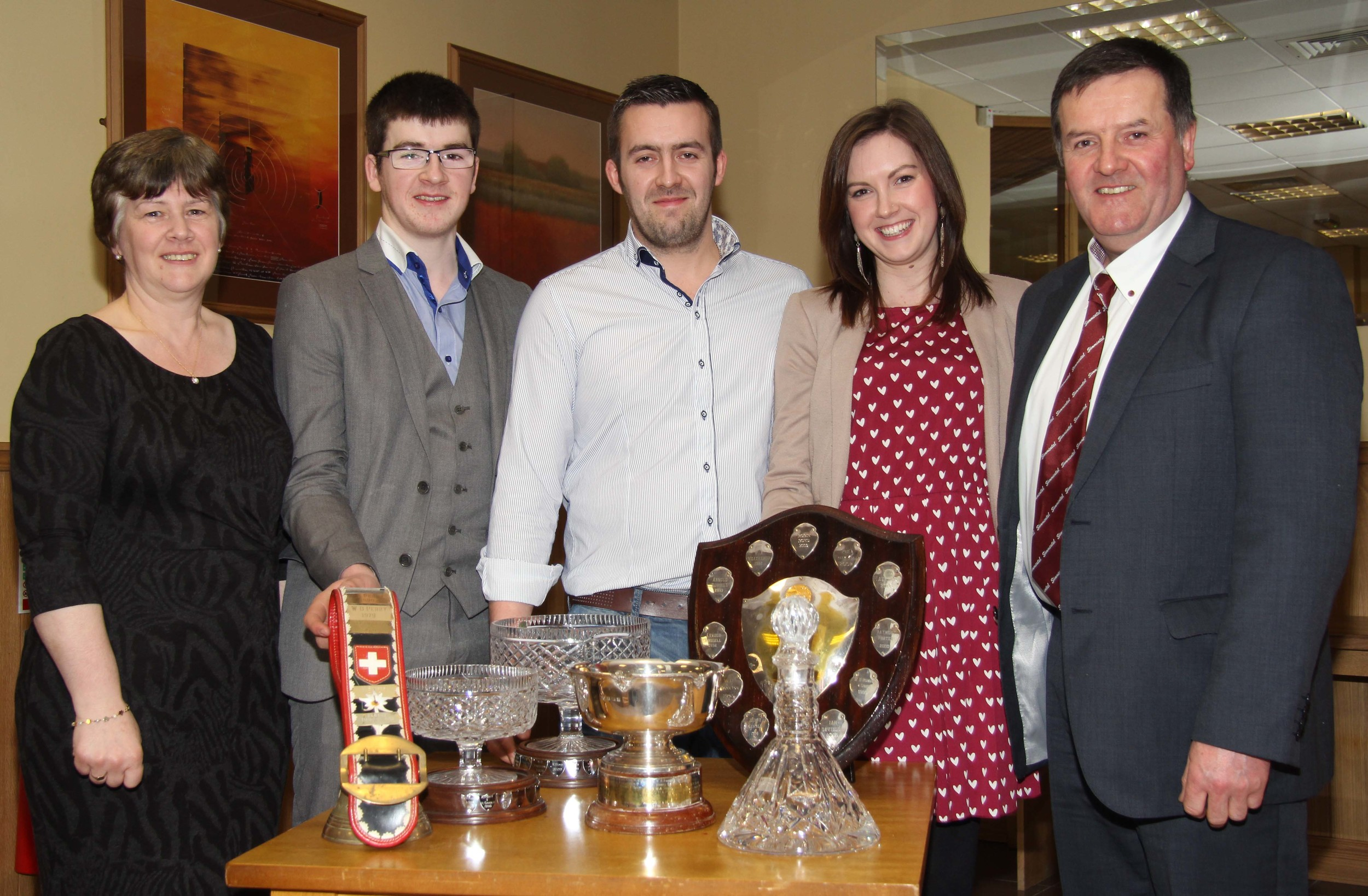 The Boyd family, Slievenagh Herd, Portglenone, Robin, Darla, Christopher, Jamie, and Adele McKeown, collected an array of trophies at the NI Simmental Cattle Breeders' Club's annual dinner, Dungannon.
