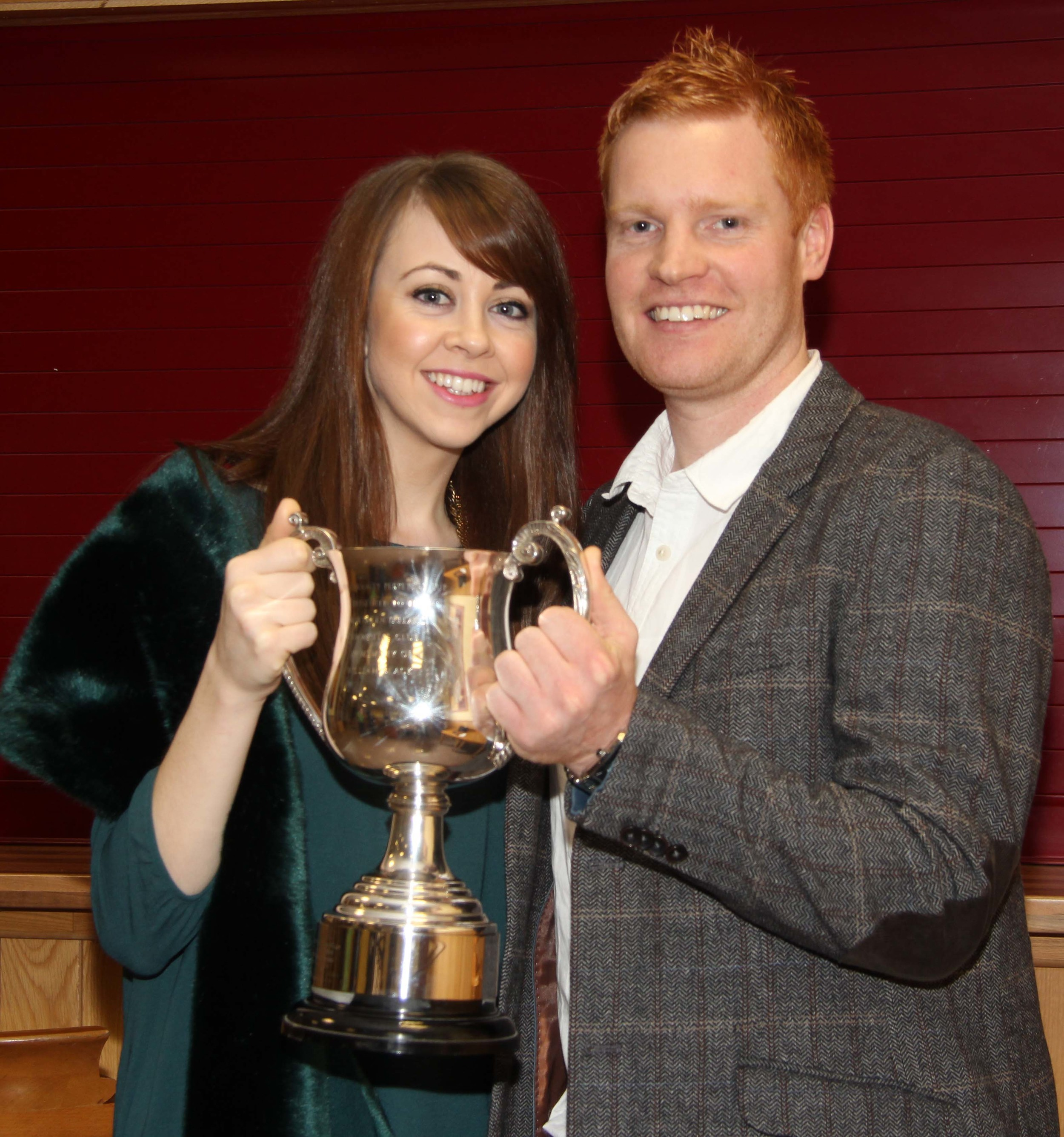 Christopher Weatherup, Ballyclare, and fiancee Laura McLean, with the William Black Memorial Cup for the supreme champion at Balmoral Show.