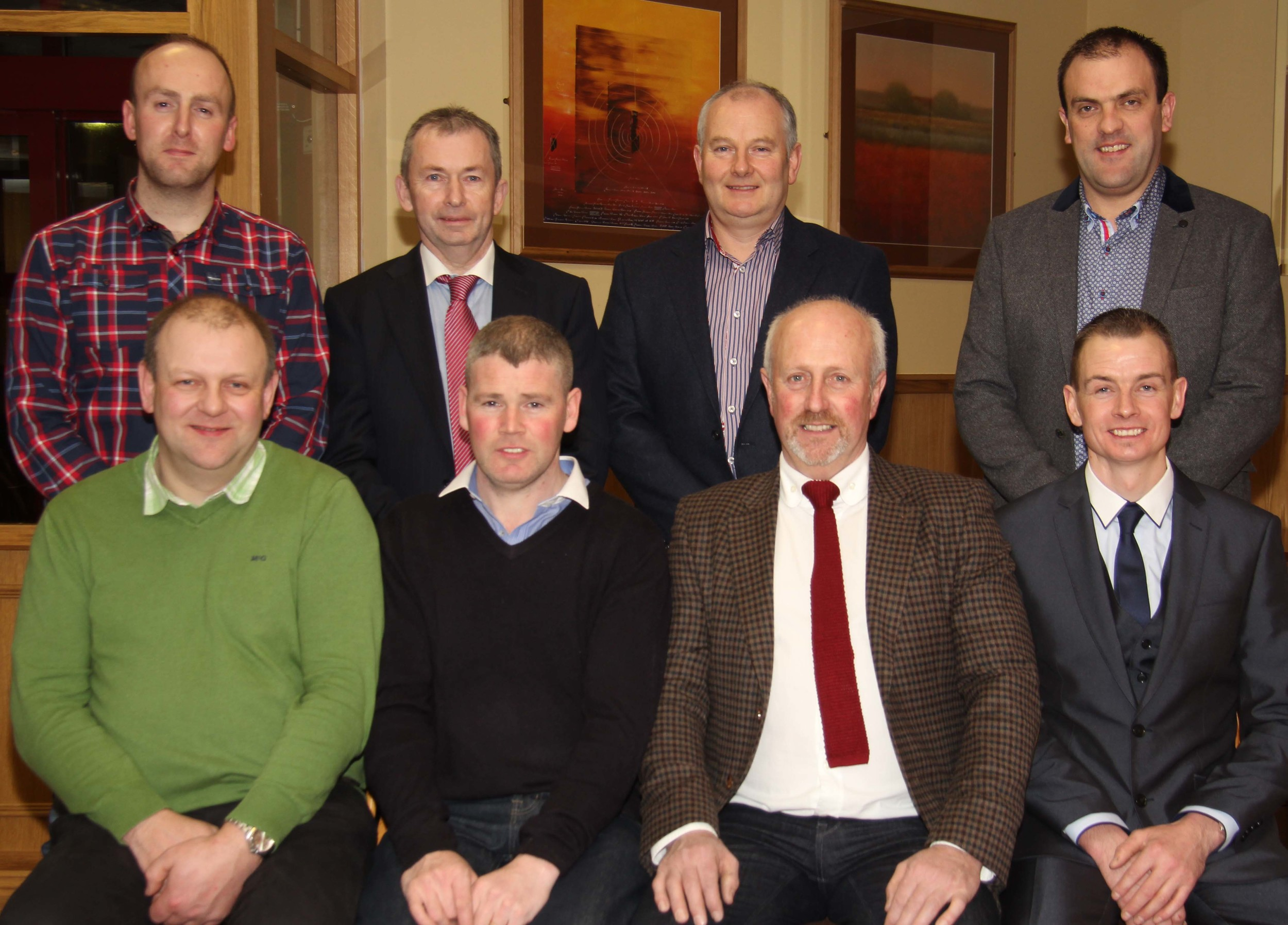 Vice-chairman Matthew Cunning, front left, and chairman Richard Rodgers, right, are pictured with guests at the NI Simmental Cattle Breeders' Club annual dinner, Dungannon. They include: Eamon McCloskey, Woodcraft Kitchens; Nigel Glasgow, Millburn Concrete; Neill Acheson, Animax; Andrew Tecey, Danske Bank; Francis Connon, Connon General Merchants; and Ian Cummins, Irwin Feeds.